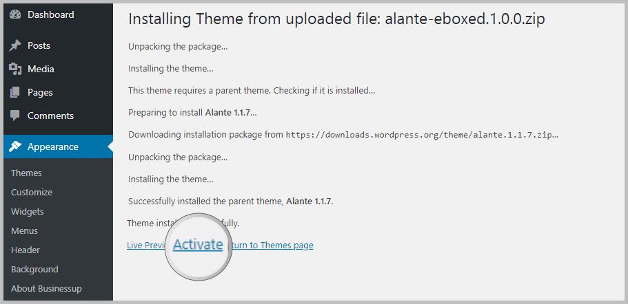 Activating WordPress theme