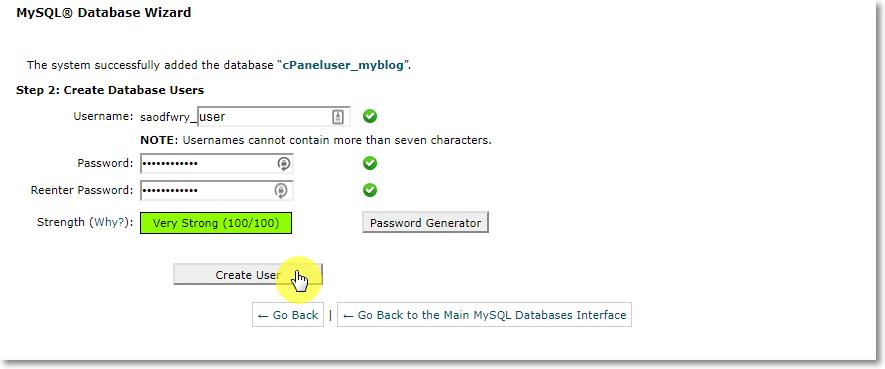 Creating Database user on cPanel