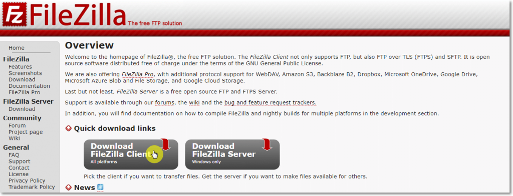 Downloading Filezilla