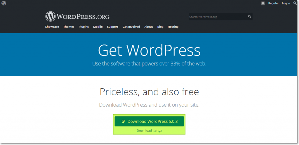 Downloading the WordPress from Official Web
