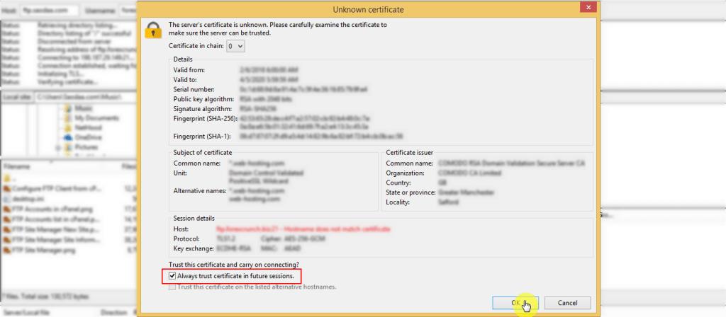 FTP Trust Certificate