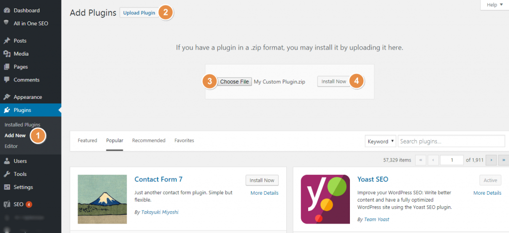 Install WordPress Plugin using Upload Plugin Feature