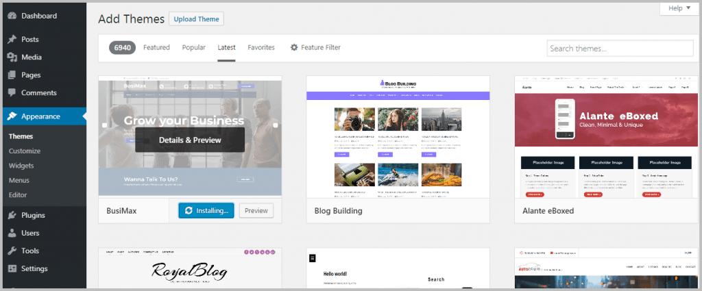 Installing WordPress Theme - Installing