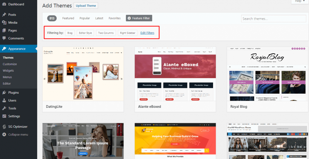 Installing WordPress Theme - Search Result