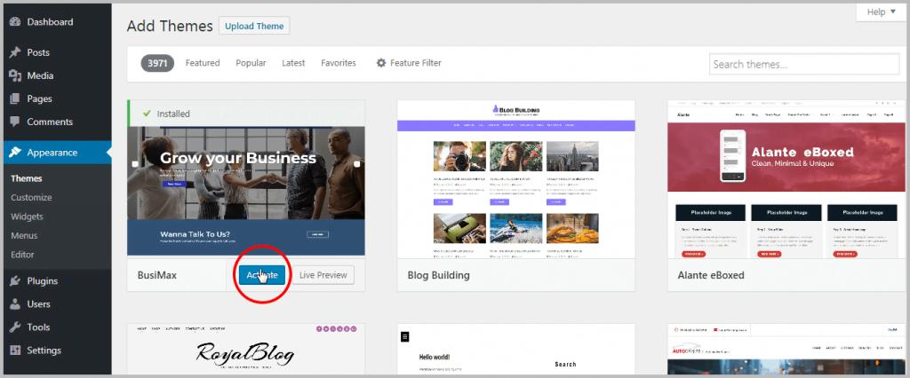 Installing WordPress theme - Activate