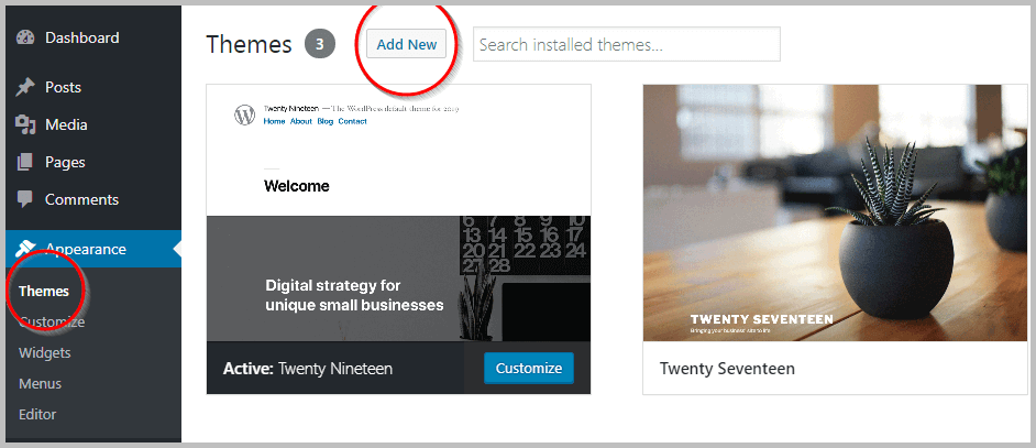 Installing WordPress theme - Add New Feature