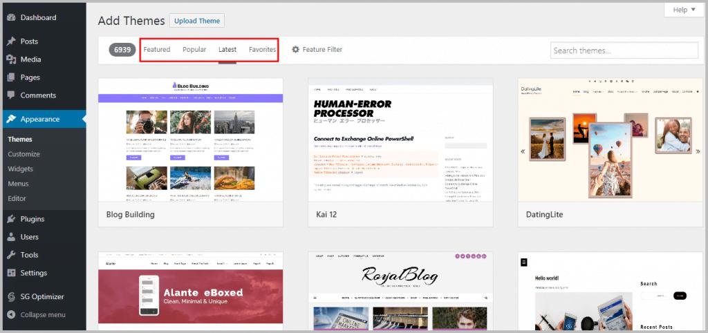 Installing WordPress theme - Add Themes