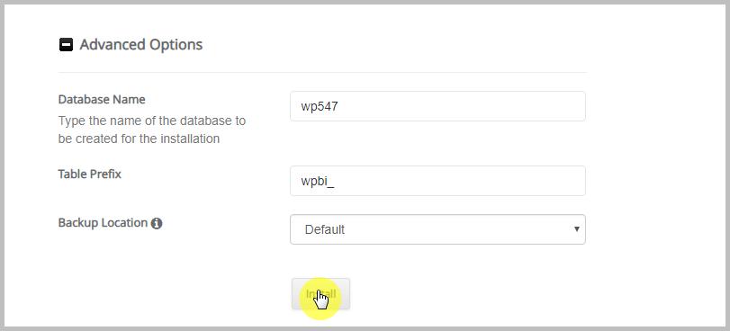 Installing WordPress using Softacolous Advanced Options