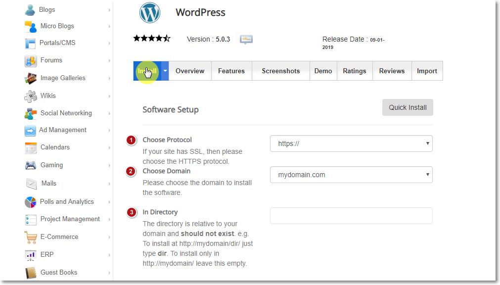 Installing WordPress using Softacolous Software Setup