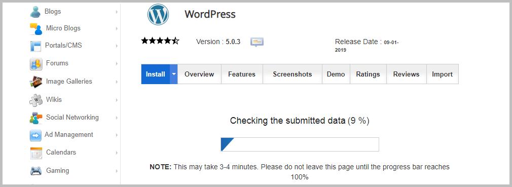 Installing WordPress using Softacolous