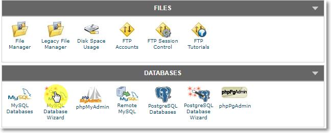 MySQL Database Wizard on cPanel