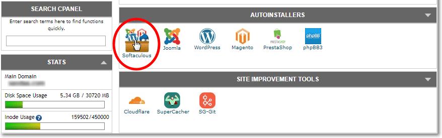 Softacolous installer for Siteground