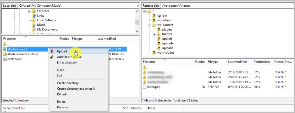 Uploading WordPress theme using FTP