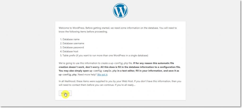 WordPress Installation 2nd Page
