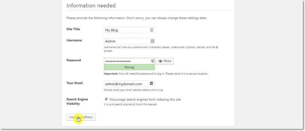 WordPress Installation Admin Info page