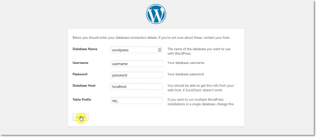 WordPress Installation Database info Page