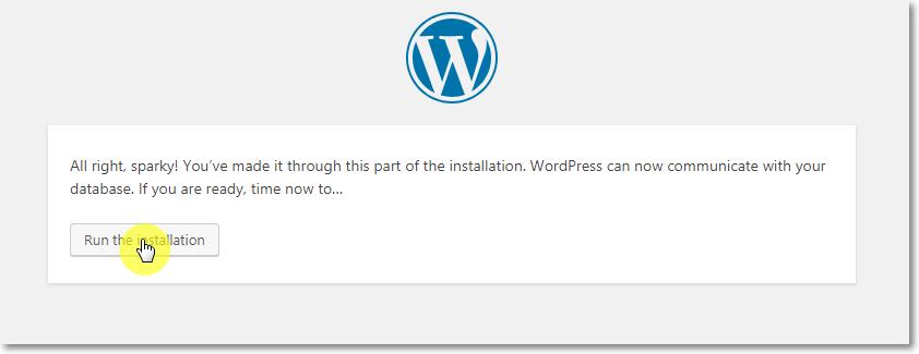 WordPress Installation Run Page