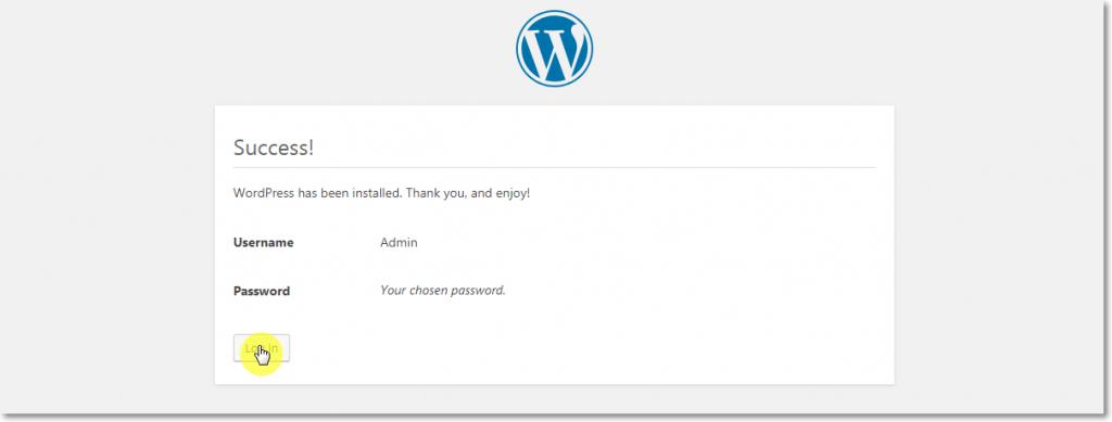 WordPress Installation Success page