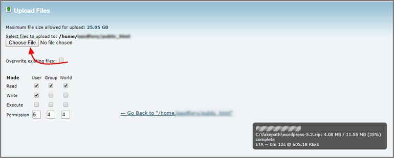 cPanel Uploading Files