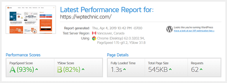 WPTechnic Speed Test Report