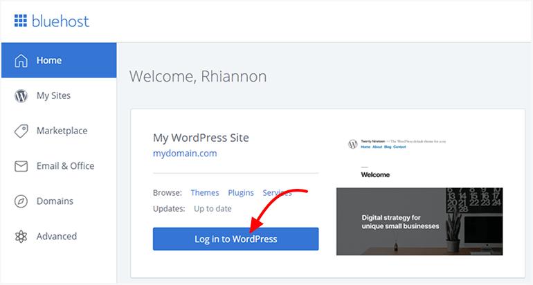 Bluehost WordPress Install Login