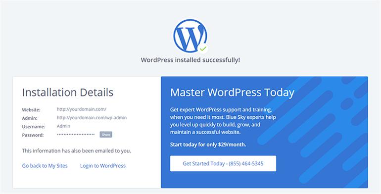 Bluehost WordPress Installation Successfull
