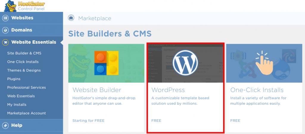 Hostgator Quickinstall WordPress