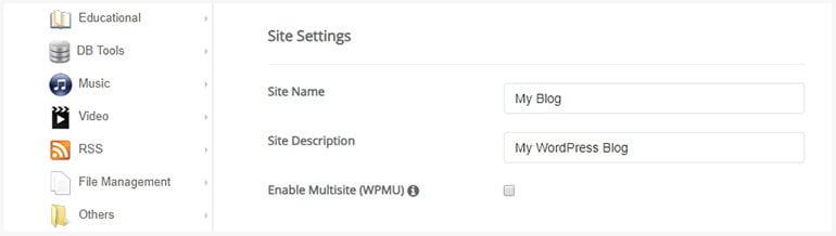Installing WordPress using Softacolous Site Settings