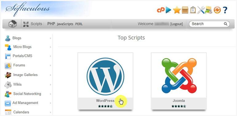 Select WordPress to Install