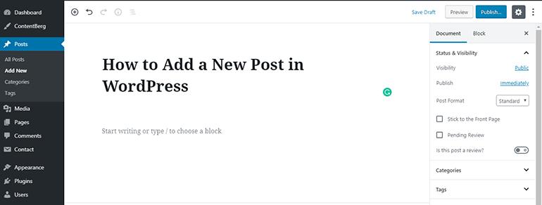 WP Block Editor Add Post Title