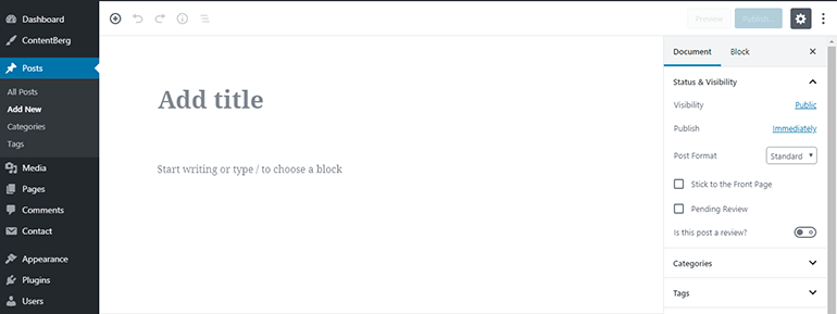 WP Block Editor Add Title