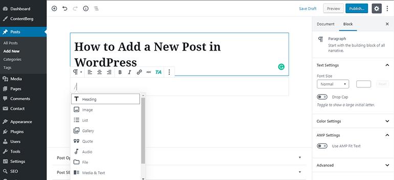 WP Block Editor Adding Block