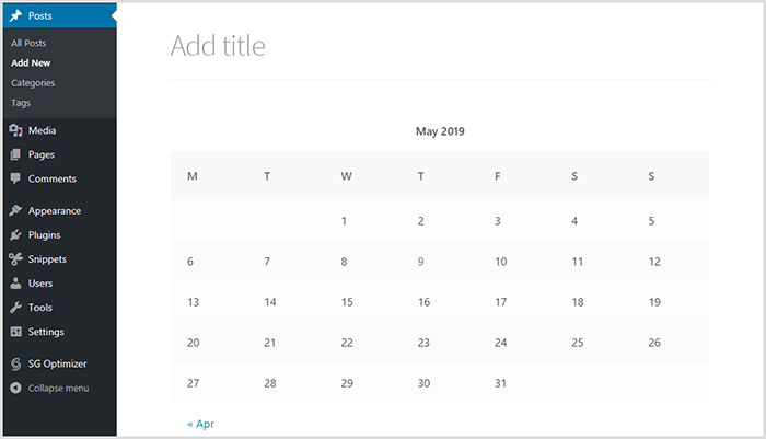 WordPress Calendar Block